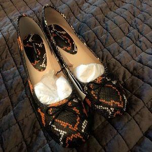Zara Snake Print Leather Small Mid Heel BALLERINA